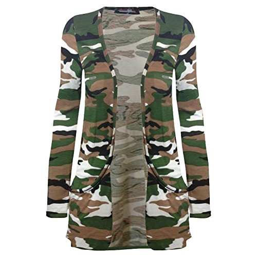 unique Army Manches Cardigan taille Femme Longues Gilet Janisramone Camouflage Print xwqE0Yan