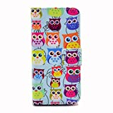 iPhone SE Case,iPhone 5S Case,Gift_Source [Colorful Owl] [Kickstand Flip] [Card Slot] Cute PU Leather Wallet Case Soft TPU Case Folio Flip Case Cover for Apple iPhone SE / iPhone 5/5s