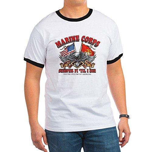 (Royal Lion Ringer T-Shirt Marine Corps Semper Fi 'Til I Die - Black/White,)