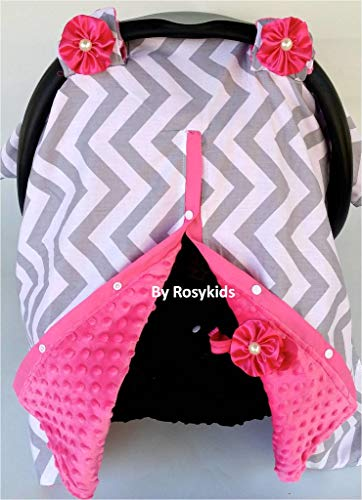 Rosy Kids Infant Carseat Canopy Cover 1pc Wind Proof Baby Car Seat Cover, Sunshade Cover, Boys and Girls, Fits Any Baby Car Seat, Light Grey Chevron Hot Pink Minky ()
