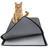"Paws & Pals Cat Litter Mat 30"" x 23"" Inch Jumbo Large Size Non Slip Litter Trap Pad Litter Boxes - Gray"