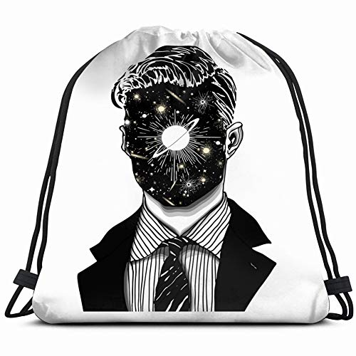 Hand Drawn Portrait Strange Handsome Man Abstract Art Drawstring Backpack Sports Athletic Gym String Storage Bags