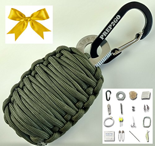 Elite Forces Tactical Knife (Paracord Survival Grenade EDC Kit | Ultimate Emergency (25pc) Military Grade Wilderness Prepper Gear--Camping Hiking Hunting. Moms Feel Safe! Your Kids can get Food, Fire & Shelter When Lost)
