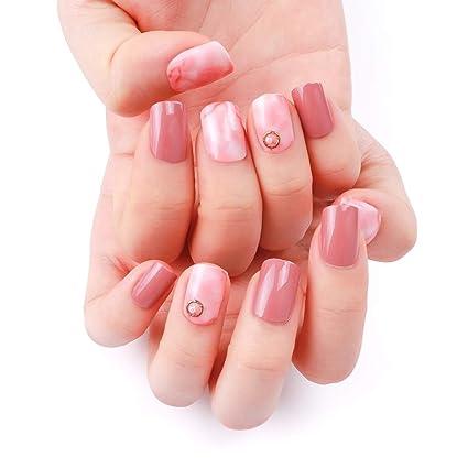 24pcs 12 diferentes tamaño teñido rosa sólido Rhinestone Pearl decorada corto Oval completo para uñas postizas