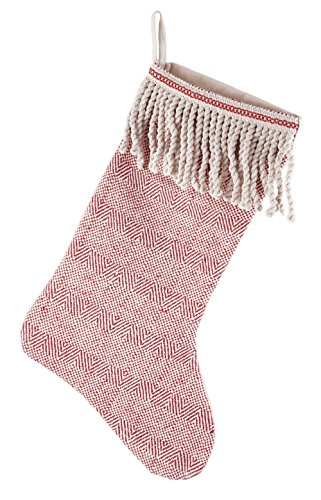 Creative Co-op Cotton Stocking with Bullion Fringe Cuff in Red & White, Multicolor