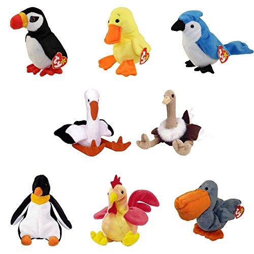 (TY Beanie Babies - BIRDS #2 (Set of 8)(Puffer, Quackers, Scoop, Stilts, Waddle, Strut +2)(5.5-6.5 in )