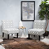 Grey Accent Chair GDF Studio | Kendal | Geometric Patterned Fabric Accent Chair Set of 2 | in Grey