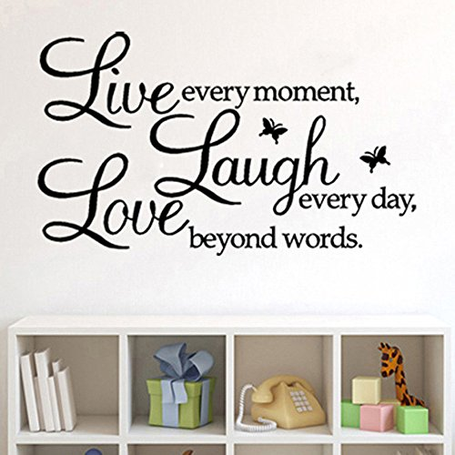 Live Every Moment Wall Stickers, E-Scenery Inspirational Quotes Flower Peel and Stick DIY 3D Wall Decals Mural Art Wallpaper for Kids Room Home Nursery Party Window Decor, Black -