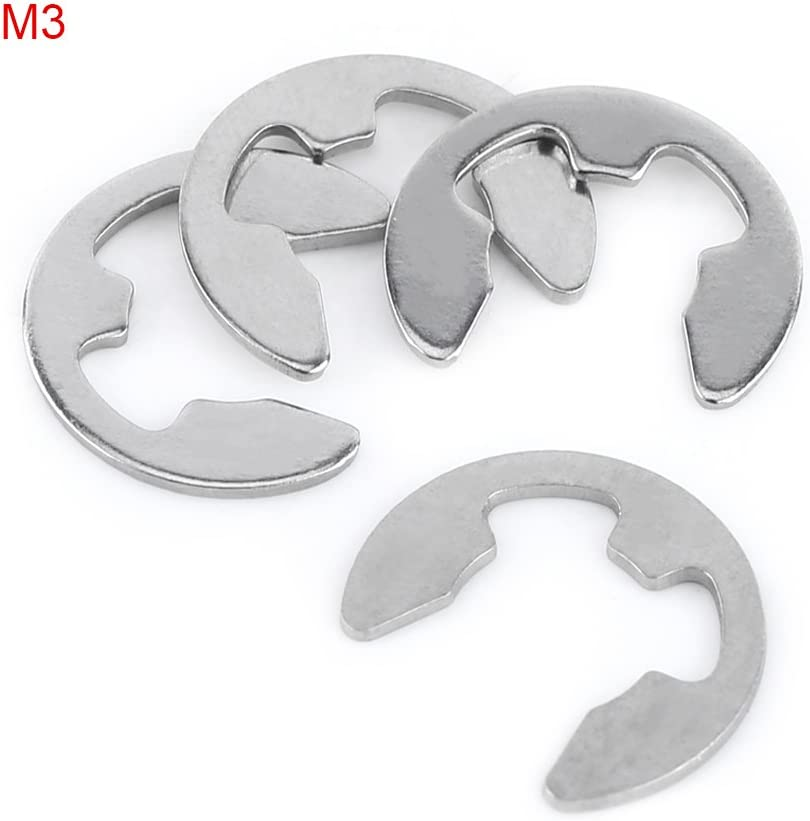 Semetall 100 Pcs 3//4 Stainless Steel External Retaining Circlip Assortment Kit,E-Clip Opening Snap Ring Silver