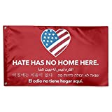 MoningV Hate Has No Home Here Red Decorative Flag House Flag Yard Banner 3' X 5'