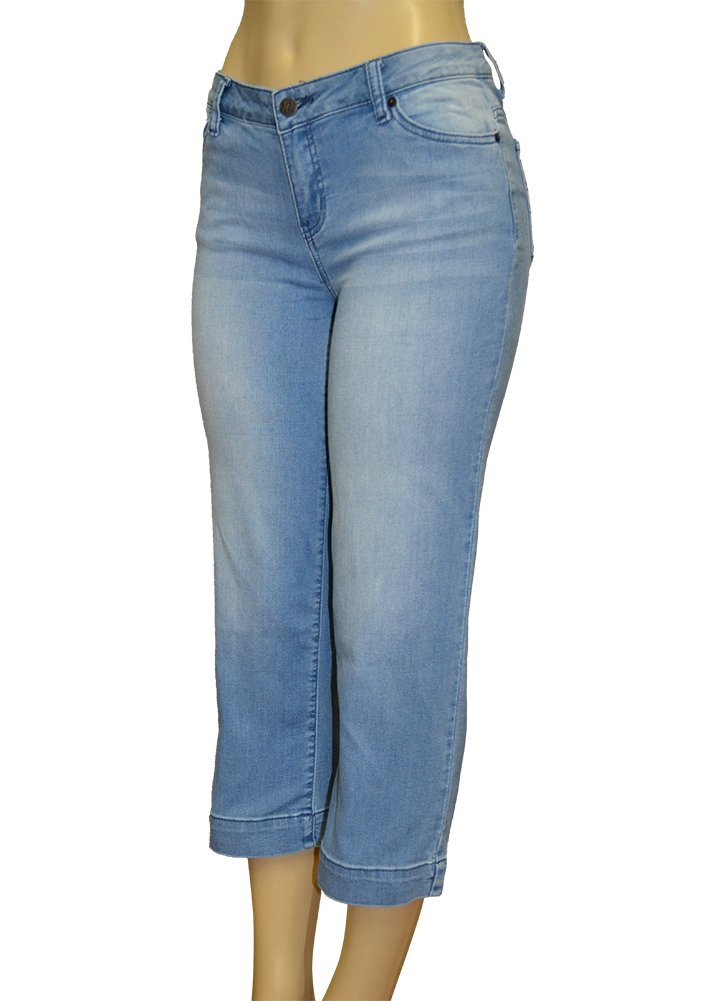 Alfa Global Women's Stretch Denim 5 Pocket Capri Pants (12, Blue59)