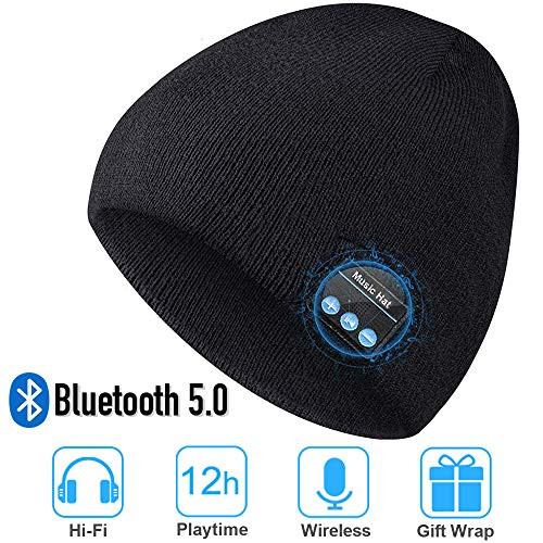 Bluetooth Beanie Hat, Upgraded Unisex Knit Bluetooth 5.0 Winter Music Hat with Built-in Stereo Speakers, Unique Christmas Tech Gag Gifts for Boyfriend/Him/Men/Teen Boys/Stocking Stuffers Best Friend (For 2019 Christmas Gifts Teens)