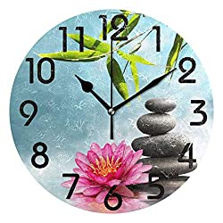 Dozili 3D Beautiful Waterlily with Stones and Bamboo Round Wall Clock Arabic Numerals Design Non Ticking Wall Clock Large for Bedrooms,Living Room,Bathroom