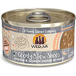 Weruva Classic Cat Stews, Goody Stew Shoes with Chicken & Salmon in Gravy, 2.8oz Can (Pack of 12)