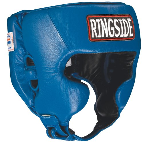 Ringside Competition Boxing Headgear with Cheeks (Blue, Small)