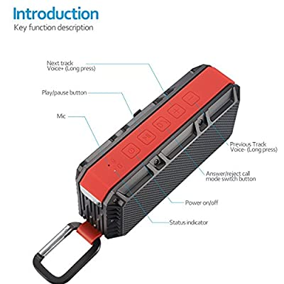 SENWOW Bluetooth 4.0 Portable Wireless Speaker, 10W Output Power With Enhanced Bass, IPX6 Waterproof, Build In Microphone for Handfree Phone Call
