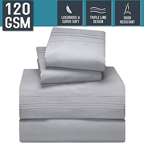 Bed Sheet Set, Queen Size, Silver Gray, Super Soft 120 GSM - Anti Odor Treatment - Corner Elastic Strap for a Snug Fit, Matching 3 Line Embroidery on Pillowcases and Flat Sheet - Nestl Bedding by Generic