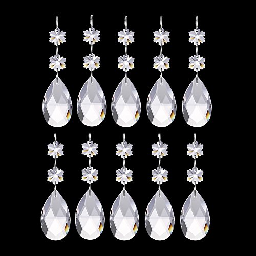 Bingcute 10Pcs Teardrop Chandelier Crystal Pendants With Snowflake Crystal Connectors,Hanging Crystals for Chandeliers (38mm, Clear) Clear Crystal Snowflake