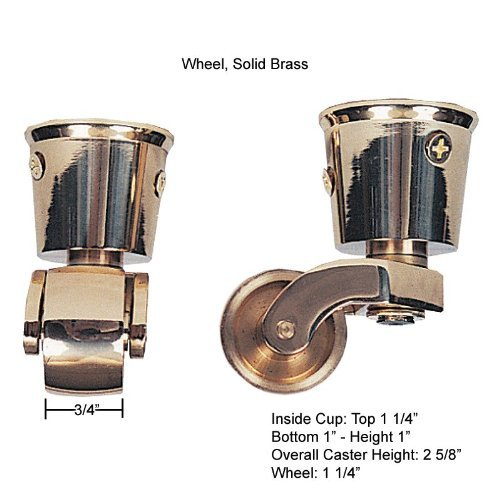 6 Pack Solid Bright Brass Caster, Made in USA by Functional Hardware