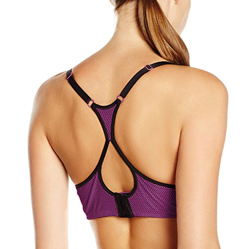 a3ba1d5d249 SYROKAN Women s Racerback Lift Comfort Mesh Underwire Foam Push up Sports  Bra Dark Red 34B