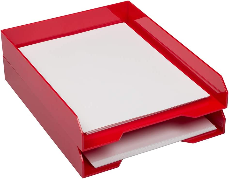 JAM PAPER Stackable Paper Trays - Red - Desktop Document, Letter, File Organizer Tray - 2/Pack