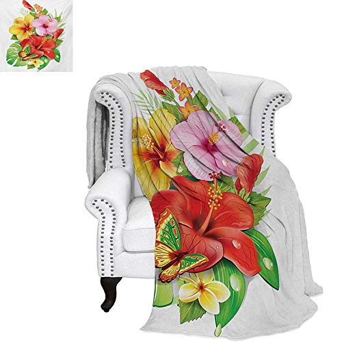 """warmfamily Hawaiian Summer Quilt Comforter Bouquet of Colorful Hibiscus Flowers with a Butterfly Blooming Plumeria Petals Digital Printing Blanket 90""""x70"""" Multicolor"""