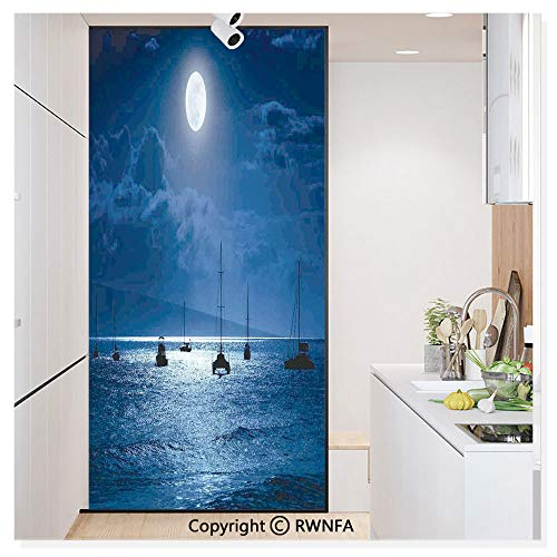 Decorative Privacy Window Film Dramatic Photo of A Nighttime Sky Full Moon Over A Calm Ocean Scene in Maui Hawaii No-Glue Self Static Cling for Home Bedroom Bathroom Kitchen Office,Navy White (Furniture Maui Office)