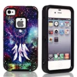 5s Case, iPhone 5S Case,iPhone 5 Case,with Dream Catcher Pattern Full Body Hybrid Impact Shockproof Defender Case Cover for Apple iPhone 5/5s Black