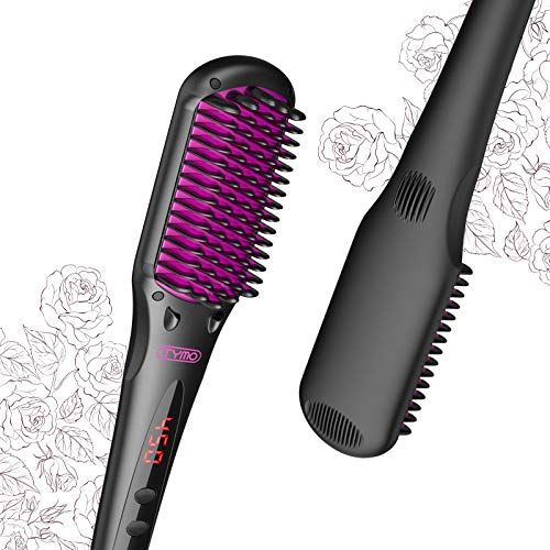 TYMO Ionic Hair Straightener Brush – Enhanced Ionic Straightening Brush with 16 Heat Levels for Frizz-Free Silky Hair…