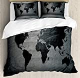 Funy Decor Dark Grey Bedding Set,Black Colored World Map on Concrete Wall Urban Structure Grungy Rough Look,4 Piece Duvet Cover Set Bedspread for Childrens/Kids/Teens/Adults,Grey Black Twin Size