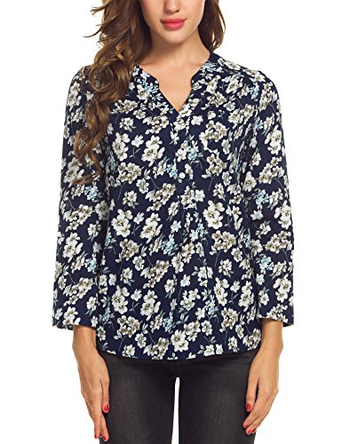 Meaneor Casual Cuffed Sleeve Floral product image