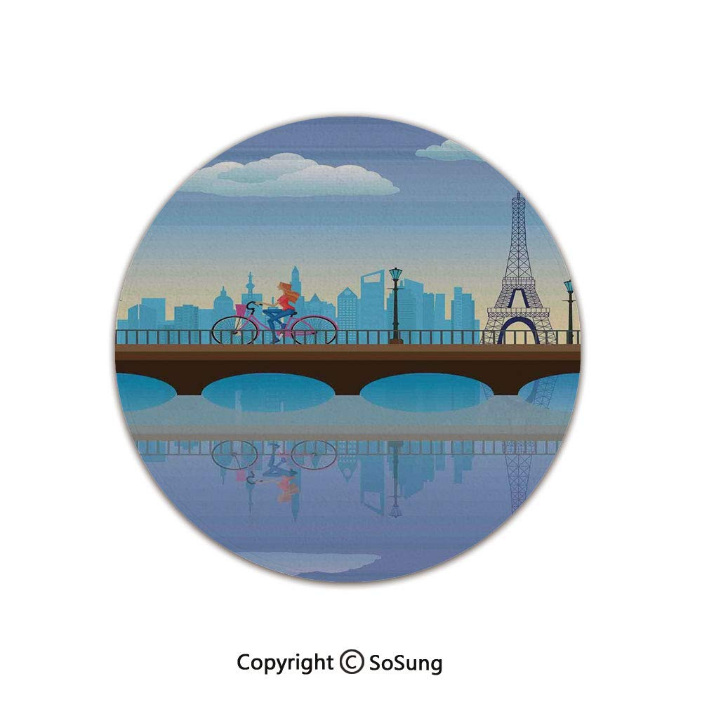 Landscape Round Area Rug,Lady Cycling in France Fluffy Clouds Bridge Reflection on River Urban Lifestyle,for Living Room Bedroom Dining Room,Round 4'x 4',Blue Brown by SoSung