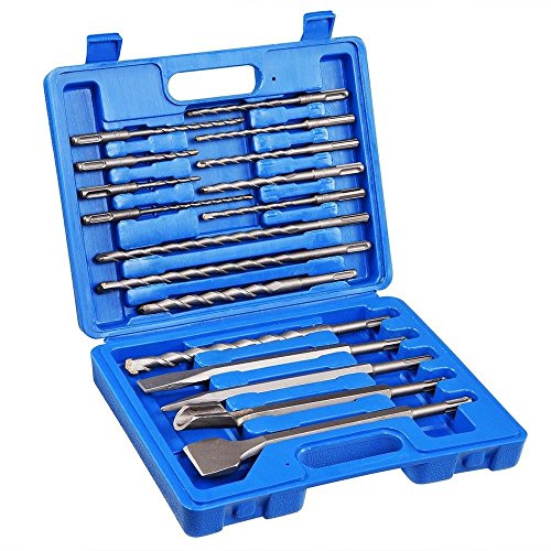 GHP 17-Pcs Universal SDS/SDS Carbon Steel Drill Bits & Chisel Tool Set with Case