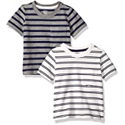 Carter's Baby Boys' 2-Pack Tee, Grey Stripe/White Stripe, 9 Months