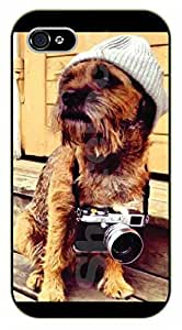iPhone 5C Hipster dog with camera - black plastic case / dog, animals, dogs