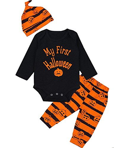 3Pcs/Outfit Set Baby Boy Girl Infant My First Halloween Rompers (Black, 6-12 Months)]()