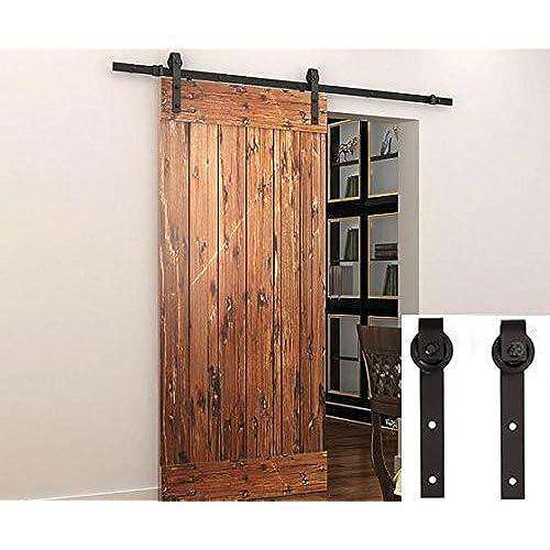 Sliding Barn Door Hardware Set Black 6.6 FT - Antique Style - Antique Sliding Door: Amazon.com