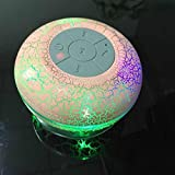 XmanxNew Mini Water Resistant Wireless Shower Speaker, X10 HD Water Proof Bluetooth 3.0 Speaker, Handsfree Portable Speakerphone with Built-in Mic With LED Colorful Lights(Pink)