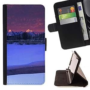 For HTC One M8 - Nature Moutnain Tips /Funda de piel cubierta de la carpeta Foilo con cierre magn???¡¯????tico/ - Super Marley Shop -