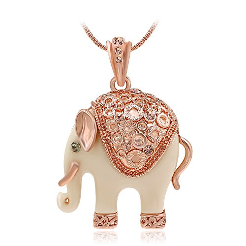 Kemstone Rose Gold Tone Ivory Elephant Pendant Necklace Women Jewelry, 15