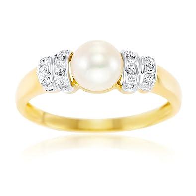 Kareco 9ct Yellow Gold Diamond And Round Pearl Ring 429VpFS