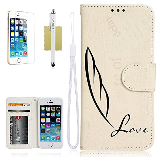 iPhone 5S Case,5S Case,&Uncle.Y PU Leather Flip Wallet Case with Credit Card Slots Case Protective Stand Cover Case for iPhone 5 5S (Case E)
