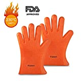 Flamen Premium Heat Resistant Silicone Cooking Glove-BBQ,Grilling,Baking, Boiling-Water Proof, Dishwasher Safe. Heat Resistant Insulated at 446 F (1 Pair)