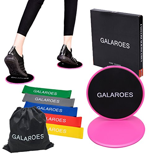 GALAROES 5 Resistance Bands for Stretching Physical Therapy and 2 Gliding Discs Core Sliders-Lightweight Workout Equipment for Home Exercise,Yoga by GALAROES