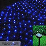 TEKTRUM 82 FT-LONG 150 BLUE LED TWO-IN-ONE SOLAR STRING FAIRY LIGHTS OUTDOOR - THICK WIRES/HEAVY DUTY STRING/BRIGHT LED