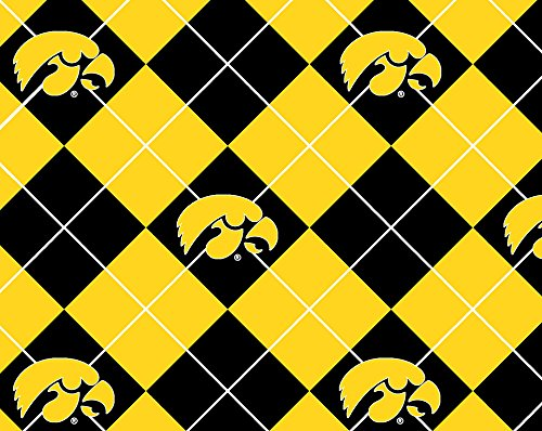 NCAA Licensed University of Iowa Hawkeyes Argyle Fleece Fabric 60'' Width Sold By The Yard