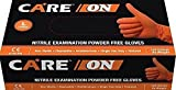 Care On Nitrile Medical Grade Examination Gloves 6 mil, Powder-Free, Textured, Chemotherapy Tested, Latex-Free, Non Sterile, (1000 Piece, 100 Piece X10inners), Orange Large