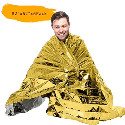 "[6 Pack/12 Pack] 82"" X 62"" Extra Large Emergency Survival Space Mylar Blanket Essentials for Marathons, Camping, Outdoors and Natural Disaster"