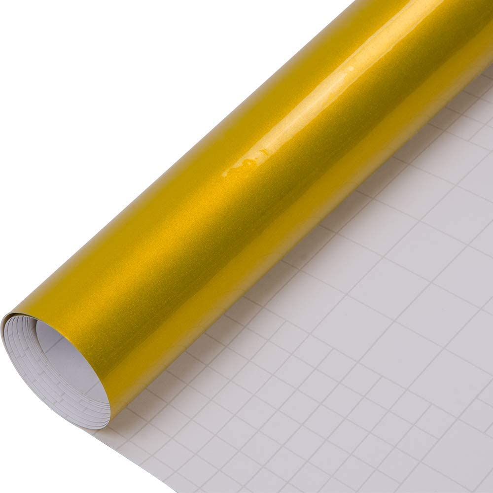 "60/"" x 96/"" Inch Gloss Yellow Glossy Vinyl Wrap Film Decal Bubble Free Air Release"