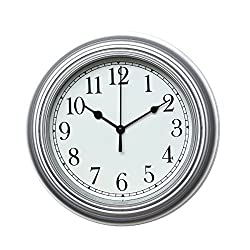 Foxtop Silent Minimalist Wall Clock Non Ticking Digital Quiet Sweep 9-Inches Home Decor Round Vintage Resin Wall Clocks (Silver)